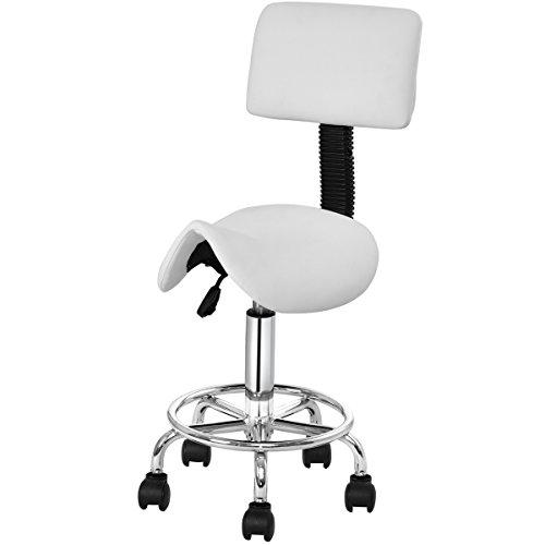 Goplus sgabello a sella per estetista altezza regolabile, con ruote, sgabello a sella da salone con schienale e poggiapiedi (bianco)