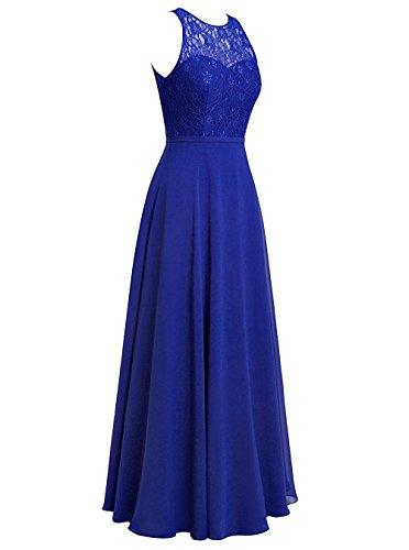 Carnivalprom Damen Chiffon Promi-Kleider Rückenfrei Abendkleider Elegant Lang Königsblau