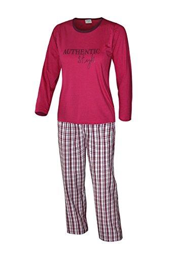 Pyjama long pyjama pour femme - 100%  coton Rose - Rose bonbon