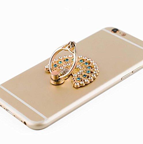 Pfau HIS Tail Creative Halter Ständer, mamum Handy Halterung Uhr Form Metall Finger Ring Ständer Halter Handy Halterung Einheitsgröße blau (S2-diamant-ring)
