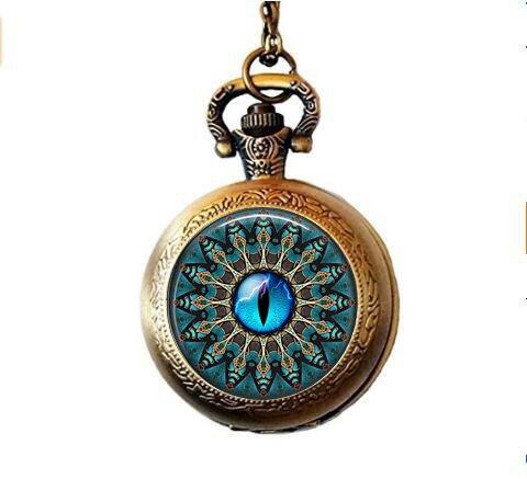 b2b Mandala mit Blau Cat 's Eye Taschenuhr Halskette Mandala mit Blau Cat 's eyepocket Armbanduhr Halskette