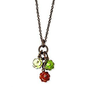 Copper-tone Green Orange and Ivory Enamel Flowers 16inch With Ext Necklace