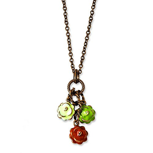 copper-tone-green-orange-and-ivory-enamel-flowers-16inch-with-ext-necklace