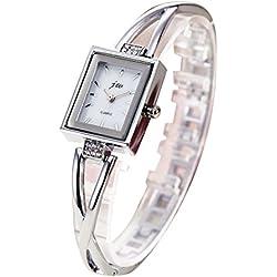 TOWEAR Ladies Girls Wristwatch Silver Bracelet Chain Square Dial Waterproof Watch