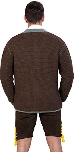 Almwerk Herren Trachten Strick Jacke Modell Ludwig, Größe Herren:50 - L - Bundweite 86-89 cm;Farbe:Braun - 6