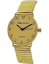 Philip Mercier MC45B - Reloj para hombres, correa de metal color dorado