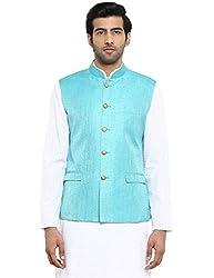 ethnix Blue Regular Fit Polyester Blend Bundi