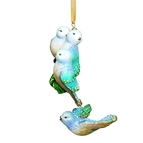 Reed & Barton Four Calling Birds Blown Glass, Christmas Ornament by Reed & Barton
