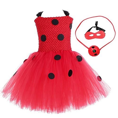 Marienkäfer-Kostüm für Mädchen, Prinzessin, Tierkostüm, Marienkäfer, Cosplay, Tutu, Tüll, Rüschen, Ärmel, Halloween-Party, Kleid für Kinder, Kleinkinder, Kinder, Partykleider, rot