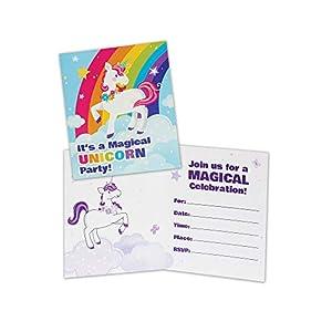 Forum Novelties x80648 - Invitaciones de unicornio, diseño de cuento de hadas, multicolor
