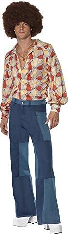 Smiffys, Herren 70er Retro Kostüm, Hemd und Patchwork Denim Hose, Größe: M, 22277