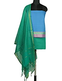 Gleamberry Womens Queen Blue and Green Mangalgiri Cotton Dress Material Set