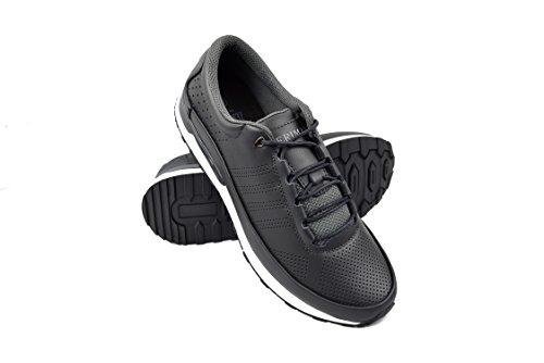 Zerimar Chaussures de Golf pour Hommes   Chaussures de Sport pour Hommes   Chaussures de Sport pour Hommes   Chaussure de Golf en Cuir  Chaussure de Sport   Couleur Gris Taille 42