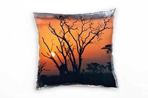 Paul Sinus Art Landschaft, Orange, Sonnenuntergang, Afrika, Silhouette Deko Kissen 40x40cm für Couch Sofa Lounge Zierkissen - Dekoration Zum Wohlfühlen Hergestellt in Deutschland