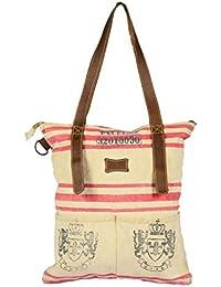 Priti Luxury Design Handbag Tote Bag Travel Bag In Washed Canvas Leather - B0791FLZB4