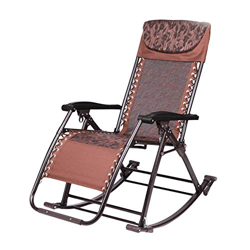 Hxx Recliners Outdoor Patio Rocker Klapp Schaukelstuhl mit Kissen für schwere Menschen, für Veranda Garden Deck Lawn Camping, Unterstützung 200kg (Farbe: mit Kissen),A -