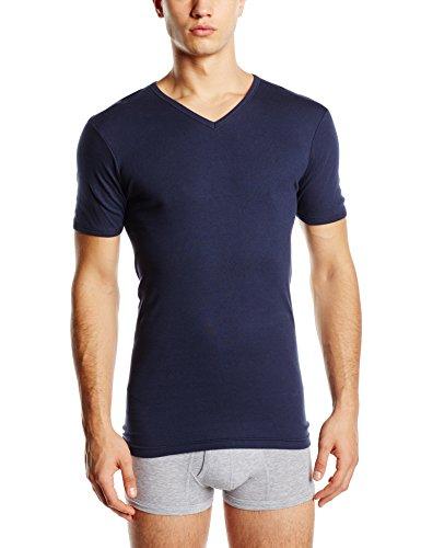 Eminence Herren Unterhemd Pur Coton T-shirt Manches Courtes Col V Blau - Blau (Marineblau)