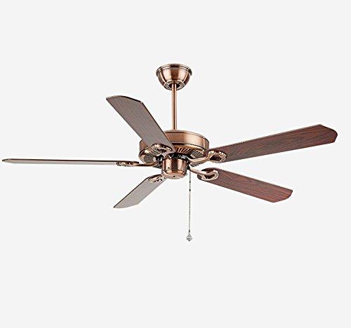 Electric fan Deckenventilator, Industrial Vintage Deckenventilator, American Haushalt Wohnzimmer Esszimmer Den Leaf Fan, Red Copper Deckenventilator (größe : 36inches)