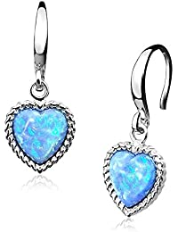 Ella Blue Oval Opal and Crystal Halo Earrings in Sterling Silver
