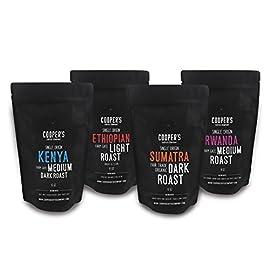 Whole Bean Coffee 4 Bag , Single Origin Gourmet Coffee, Roasted Coffee Organic Sumatra Dark Roast, Kenya Aa Medium-Dark Roast, Rwanda Medium Roast, Ethiopian Bold Roast, 1Lb
