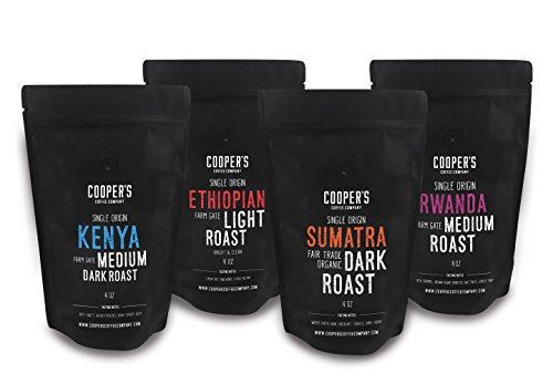 Whole Bean Coffee 4 Bag , Single Origin Gourmet Coffee, Roasted Coffee Organic Sumatra Dark Roast, Kenya Aa Medium-Dark Roast, Rwanda Medium Roast, Ethiopian Bold Roast, 1Lb
