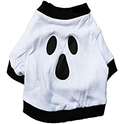 para perro mascota ropa de Halloween,RETUROM Perro caliente ropa de algodón de Navidad camisa del fantasma de Halloween para mascotas (L, Blanco)