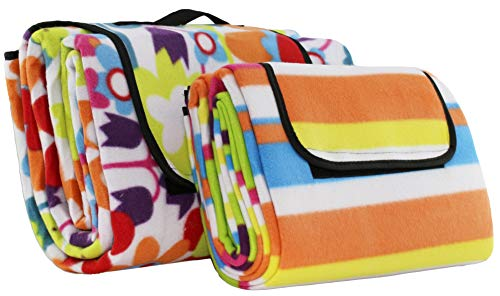 Brandsseller Picknick Decke Fleece in den Größen: ca. 135 x 175 cm und ca. 200 x 200 cm in Trend Designs: Blumen oder Streifen