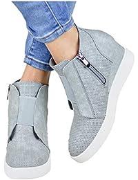 Stivaletti Donna con Tacco Sneakers con Zeppa 4.5cm Zip Mocassini Donna Scarpe da Ginnastica in Pelle Eleganti Ankle Boots Cachi Rosa Blu 34-43