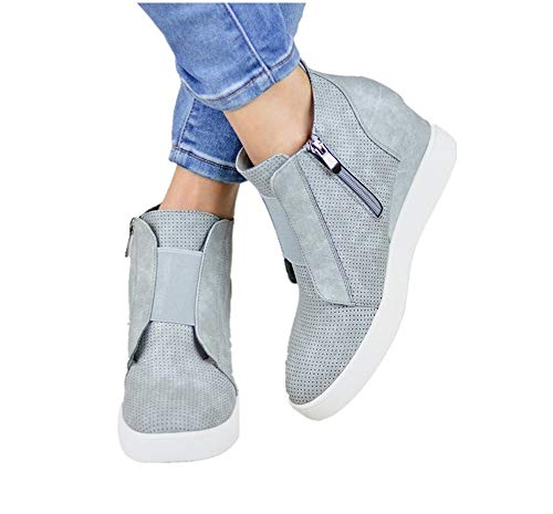 Plateau Sneaker Damen Wedges Hohe Keilabsatz High Leder Kurzschaft 4.5cm Chelsea Ankle Boots Reißverschluss Keil Schuhe Beige Rosa Blau Grau 34-43 GY40