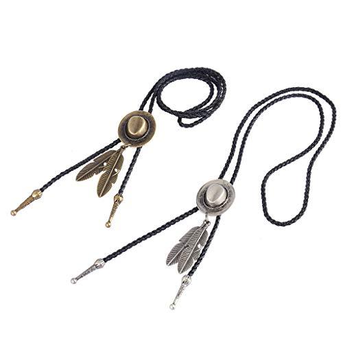 B Baosity 2 Piezas De Cuero Negro PU Vaquero Occidental Rodeo Sombrero Bolo Tie Bola Collar