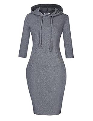 MISSKY Women's Cotton Casual T-Shirt Sport Hooded Dress