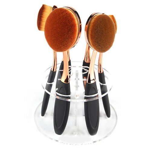 Professional rond deux couches Lot de 6 brosses à dents Pinceaux de maquillage Outil de rangement de support