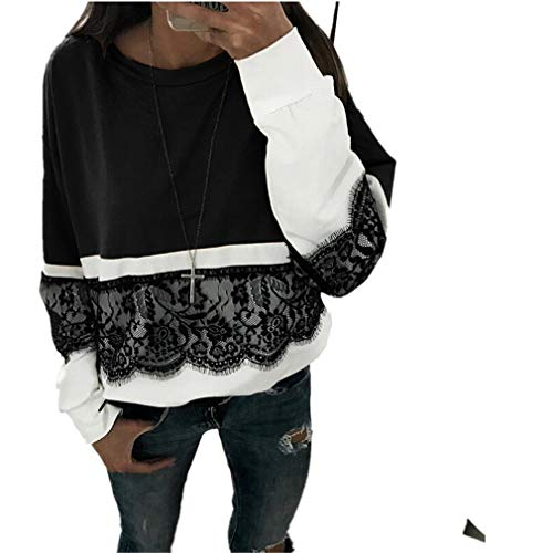 MEIbax Damen Herbst Casual Langarm Spitze Pullover Patchwork Sweatshirt T Shirt Bluse Tops Baggy...