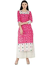 Zoeyams Women's Pink Cotton Block Prints With Aari Embroidery Long Straight Kurti