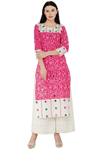 ZOEYAM'S round neck 3/4th sleeves off multi colour block printed cotton kurti...