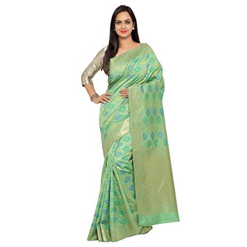 Varkala Silk Sarees Women's Art Silk Patola Saree With Blouse Piece(TD1118FG_Green_Free Size)