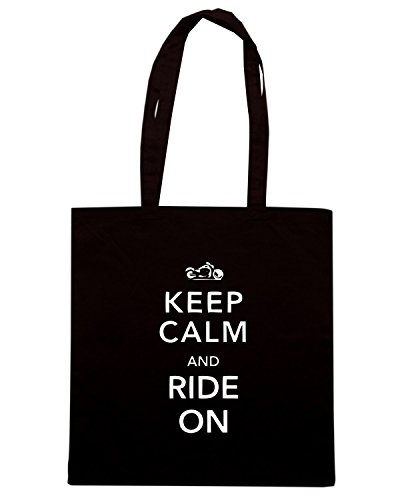 T-Shirtshock - Borsa Shopping OLDENG00557 keep calm and ride on Nero