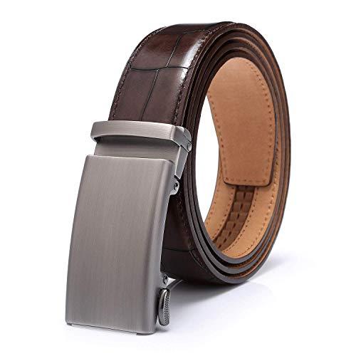 HZHY Cinturón de cuero de cocodrilo para hombre, cinturón de vestir de 35 mm de ancho en negro y marrón (Marrón)