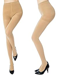 ce1b495cdd4 MANZI Women s 2-6 Pairs Classic Opaque Control-Top Tights with Comfort  Stretch 70