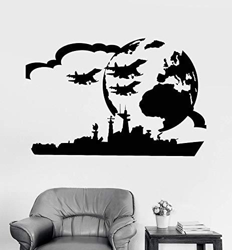 Vinyl Wall Decal USS Militär Art Boy Room War Aufkleber einzigartiges Geschenk 64x42cm