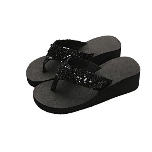 Malloom® Frauen Sommer Pailletten Anti-Rutsch-Sandalen Slipper für drinnen und draußen (38, schwarz) (Schwarze Riemchen Mädchen Kostüm Heel Schuhe)