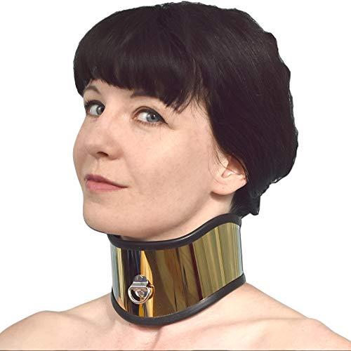 Schweres und breites Edelstahl Halskorsett abschließbar (gold, Damen (12 cm))
