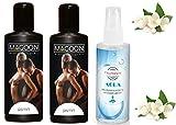 Massageöl | Erotisches Massage Öl Set | Jasmin Aroma Duft | 400 ml | Intim-Öl | Körperöl |...