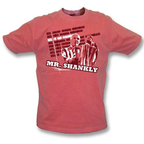 PunkFootball Weinlesewäsche-T-Shirt Medium Herrn Shankly, Farbe- Rot (T-shirt Herrn Erwachsene)