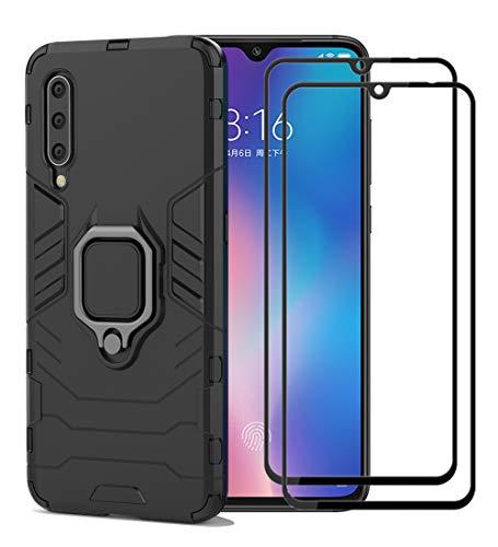 XIFAN Xiaomi Mi 9 Funda [Robusto] Anillo Metálico Soporte [Funciona con El Montaje De Coche Magnético] Case Carcasa, Negro + 2 Piezas Protector de Pantalla