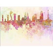 Póster 40 x 30 cm: Barcelona skyline in watercolor de Colourbox - impresión artística de alta calidad, nuevo póster artístico