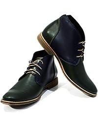 8eca3c81ad3c PeppeShoes Modello Dalmine - Handgemachtes Italienisch Leder Herren Grün  Stiefeletten Chukka Stiefel - Rindsleder Weiches Leder