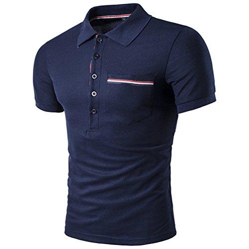 CHENGYANG Sommer Stylische Poloshirt zum Herren Streifen Stitching Revers Kurzarm T-shirt Dunkel Blau