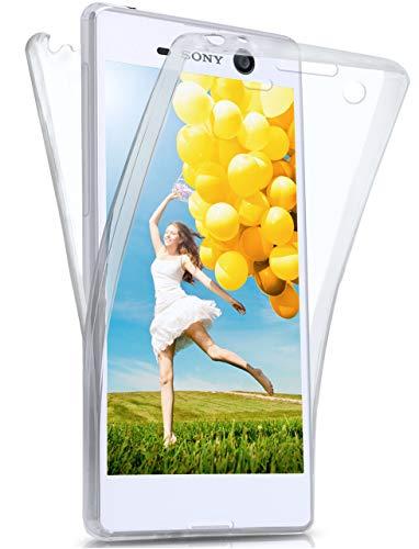 moex® Beidseitige Silikonhülle [Vorder + Rückseite] passend für Sony Xperia M5 | 360 Grad Cover mit Komplett-Schutz - durchsichtig, Transparent