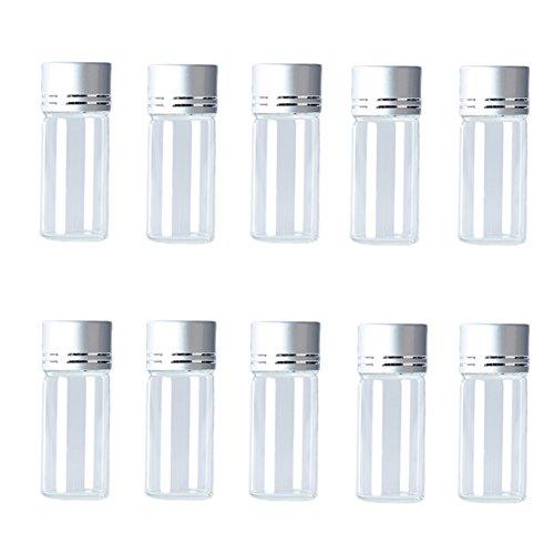 Hustar 10 Pièces 10ml Flacons Vide en Verre Transparent pour Cosmetique de Sac avec Couvercle à Vis Argent